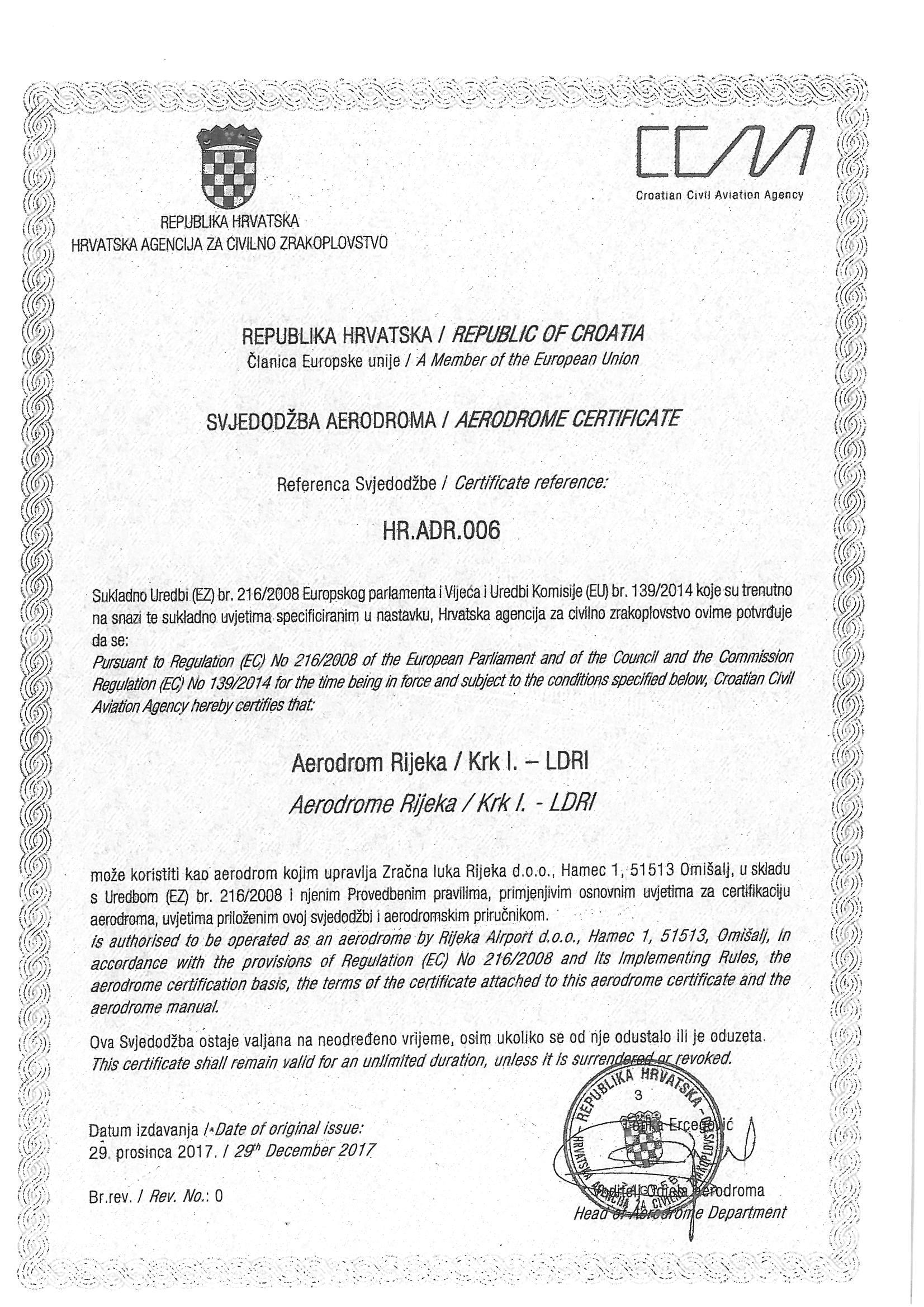 Zračna luka RIjeka-certificirani aerodrom na neodređeno vrijeme!