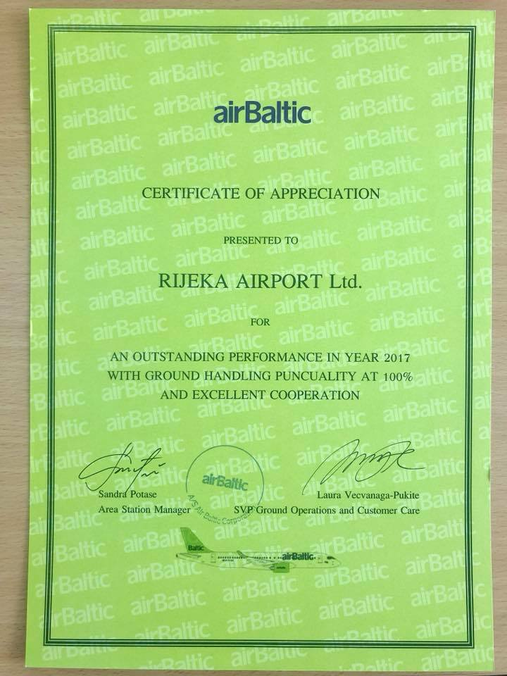 Certificate of appreciation for Rijeka airport!